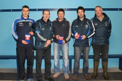 Receiving the Club Socks from Jerry Harrington, Brian Crowley, Timmy Clifford, Jerry Harrington, Tommy Granville and Neilie O'Sullivan