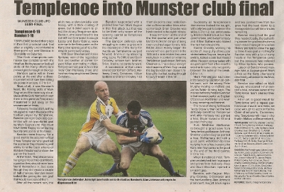 Munster Junior Football Championship Semi Final, Templenoe V Bandon 2015 The Kerryman_1