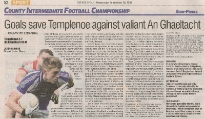 County Intermediate Semi Final 2016, Templenoe V An Ghaeltacht - The Kerryman Sept 2016_1